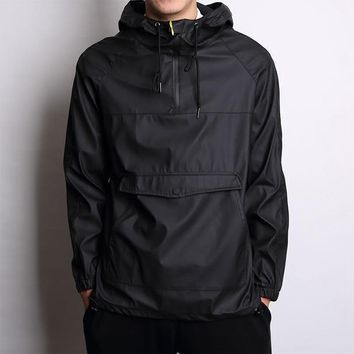 PU Sweatshirt Hip men Waterproof jacket with hooded kangaroo pocket male  pullover outerwear Skateboarding sports Hoodies