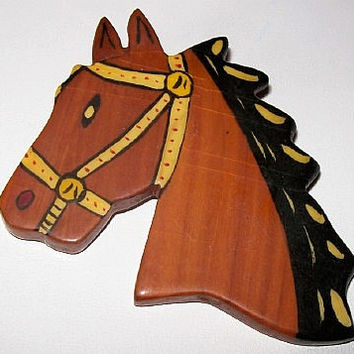 Horse Brooch Pin Wooden Material Yellow Black Enamel Paint BIG 3 1/4 in Vintage
