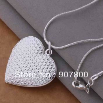 AN730 factory price silver Photo Frame Locket Heart Pendant Necklace Fashion Jewelry beautiful lovely wedding gift