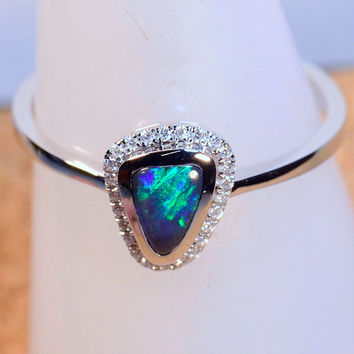 HAND MADE Solid Australian Black Opal & diamond cluster Solid 18ct White Gold dress / engagement ring (13605)