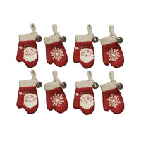 Nostalgic Vintage Retro Red Mini Knit Mitten Ornaments with Jingle Bells - Set of 8