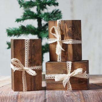 Set of 3, Wood Christmas Presents, Rustic