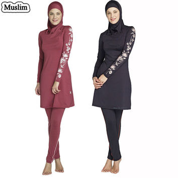 Full Coverage Modest Muslim Swimwear Islamic Swimsuit For Women Arab Beach Wear Muslim Hijab Swimsuits Plus Size Good Quality