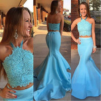 2016 Sexy Halter Mermaid Prom Dresses Two Piece Lace Appliques Beads Backless Gorgeous New Lady Formal Party Dress Gowns Custom