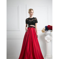 Red & Black Short Sleeve Two Piece Long Gown 2016 Prom Dresses