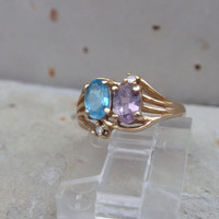Topaz Amethyst Diamond 14k Ring yellow gold blue purple December February birthstone