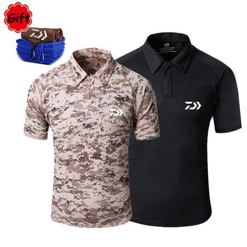 Men Summer Fishing Clothings Short Sleeve Cycling Fishing T Shirt Breathable Outdoor Sports Running Tops Jersey Free Gift