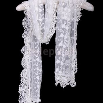 Women Gauze Embroidery Lace Scarf 3310 White