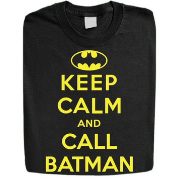 Stabilitees Funny Keep Calm and Call Batman Mens T Shirts
