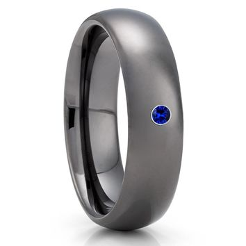 Blue Sapphire Tungsten Ring - Gray Tungsten Ring - Gunmetal Tungsten - 6mm