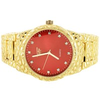 Men's Techno Pave Red Face Nugget Band Gold Finish Watch
