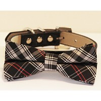 Black Dog Bow Tie attached to Collar, Pet wedding accessory, Dog Lovers, Black