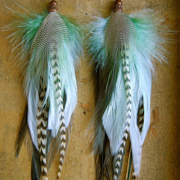 SALE: 20 Percent OFF the ENTIRE shop - Mint Ombre Long Feather Earrings