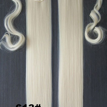 Velcro Wrap Ponytail Hair Extension,Ponytail with band,Ribbon Ponytail,Straight hair,Wig Hairpiece,synthetic hair wig,woman wigs,wig hairs,Bath & Beauty,Accessories BIP-666 613#