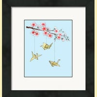 Watercolor Origami Crane Print, Fine Art Print, Cherry Blossom Painting,Japanese Inspired Wall Art, Giclee Print, Kids Room Decor