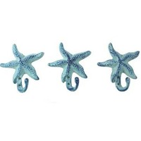 Starfish Wall Hangers Cast Iron Antique Blue - Set of 3 for Coats, Aprons, Hats, Towels, Pot Holders, More
