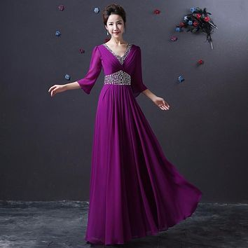 2017 New Tree Quarter Women Bridesmaid Dresses Chiffon Long Sequined V-neck Party Summer Prom Dress Customize Large Size Zipper