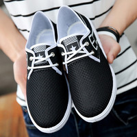 Air mesh shoes men's 2017 new fashion casual cheap shoes breathable light summer solid white shoes man zapatos hombre
