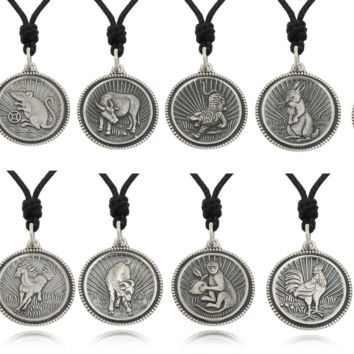 Round Chinese Zodiac 92.5 Sterling Silver Pewter Brass Necklace Pendant Jewelry