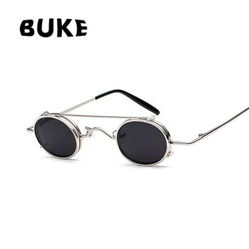 BUKE Gothic Steampunk Sunglasses Men Women Metal Round Shades Brand Designer Sun glasses Men Mirror High Quality Oculos UV400