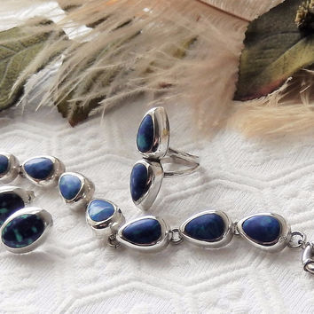 Vintage Mexico .925 Sterling Silver Azurite Bracelet Ring & Earrings Set