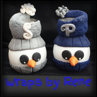 Polymer Clay Snowman Salt and Pepper Shakers