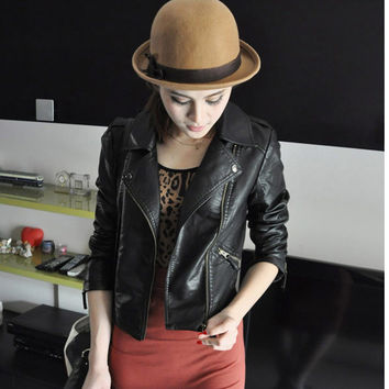 Women Black Zipper Moto Crop Slim Jacket