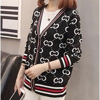 GUCCI Women Autumn And Winter New Fashion More Letter Print Long Sleeve Top Cardigan Coat Black