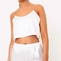 Issie White Satin Pyjama Shorts Set