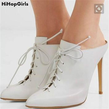 HiHopGirls 2018 Spring Sexy Women Pointed toe pumps Slingbacks Cross Strap Slipper sandals stiletto Thin high heels shoes woman