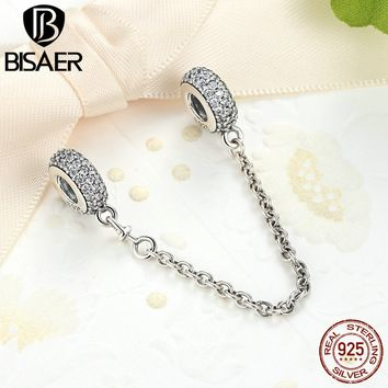 Genuine 925 Sterling Silver Clip Pave Inspiration Safety Chain Stopper Charms Fit Pandora Charm BraceletSterling Silver Jewelry