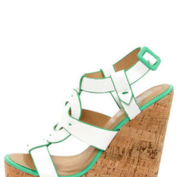 Elle 2 White and Teal Sun Cross Platform Wedge Sandals