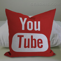 YouTube Logo 302 Pillow Case, Pillow Cover, Custom Pillow Case