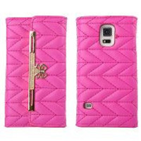 Fashion Handbag Wallet Style Chevron Texture Pattern with Bowknot Magnetic Buckle Flip PC+PU Leather Case for Samsung Galaxy S5 I9600 G900(Rose)
