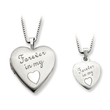 925 Sterling Silver Forever in My Heart Mother Daughter Necklace Set