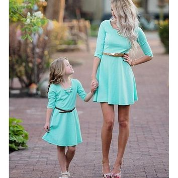 Mommy and Me Striped Long Sleeve Dress