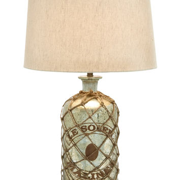 Tinted Glass Table Lamp with Netted Jute