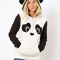 Black and White Panda Printed Hoodies