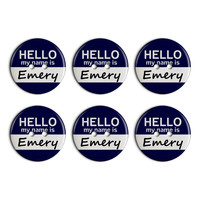 Emery Hello My Name Is Plastic Resin Button Set of 6