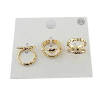 Special offer Korean jewelry simple flash diamond ring gold love alloy ring ring ring set 1 card 6 LL