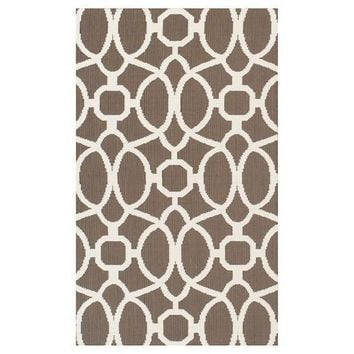"Threshold 30"" x 50"" Indoor or Outdoor Rug in Taupe Trellis"