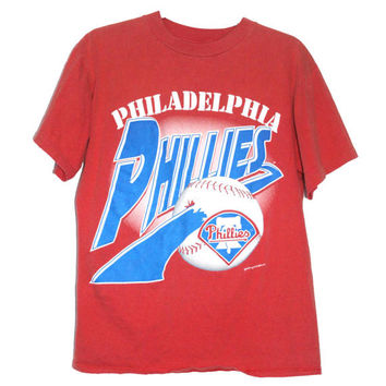 Vintage 1990s Phillies Baseball Tee T-Shirt | Philadelphia MBL | Adult Size Medium | Retro Philly Sports Fan Gift, TShirt, Shirts