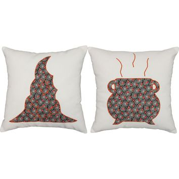 Creepy Cauldron Throw Pillows