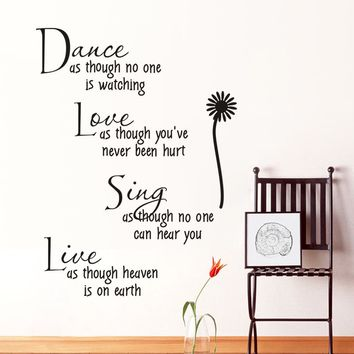 DANCE LOVE SING LIVE Wall Sticker Flower Decal Art