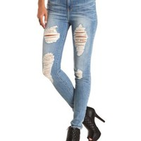 "Refuge ""Hi-Rise Skinny"" Destroyed Med Wash Jeans"