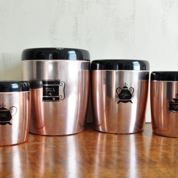 Vintage West Bend Aluminum Canister Set, Copper or Pink Metal, Black Lids