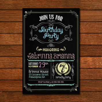 Chalboard Birthday Design Invitation