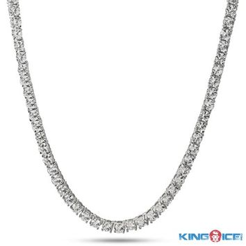 4MM ICED OUT Platinum Style One Row Cubic Zirconia CZ Necklace Chain - Timbaland Jewelry - Celebrity Jewelry