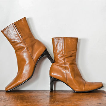 Vintage Golden leather Boots / 1990s Nine West Tan Ankle Boots / Shoe Size 7
