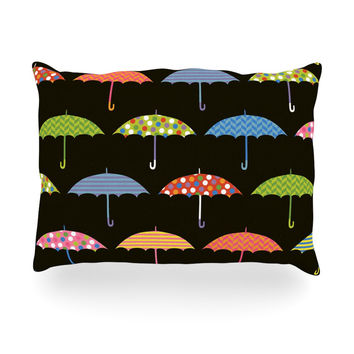 "Heidi Jennings ""Umbrella"" Multicolor Oblong Pillow"